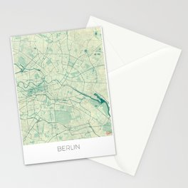 Berlin Map Blue Vintage Stationery Cards