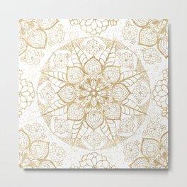 Stylish boho hand drawn golden mandala Metal Print