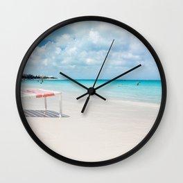 Beach chair in Grace Bay Wall Clock