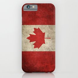 Old and Worn Distressed Vintage Flag of Canada iPhone Case