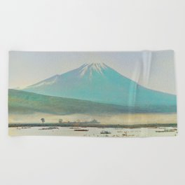 Watercolor Vintage Fuji Mountain Landscape Graphic Beach Towel