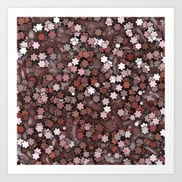 Chocolate Cream Pudding Flower Sprinkles Art Print