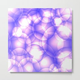 Gentle intersecting purple translucent circles in pastel shades with glow. Metal Print