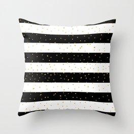 Black white gold faux glitter stripes polka dots  Throw Pillow
