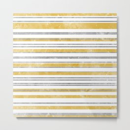 Sun Kissed Stripes: Silver and Gold Metal Print