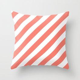 Diagonal Stripes (Salmon/White) Throw Pillow