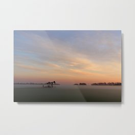 Oil Derrick In Fog Metal Print
