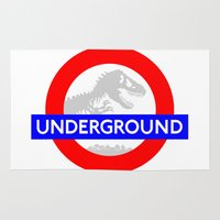 jurassic park Area & Throw Rugs featuring LONDON UNDERGROUND : JURASSIC PARK SERVICE by DrakenStuff+
