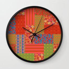 Poppy Fields Faux Patchwork Wall Clock