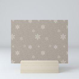 Snow Flakes pattern Beige #homedecor #nurserydecor Mini Art Print