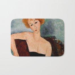 "Amedeo Modigliani ""Redheaded Girl in Evening Dress"" Bath Mat"
