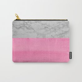 Painted Marble - Black and Coral Pink Carry-All Pouch