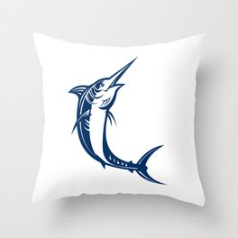 Blue Marlin Jumping Retro Throw Pillow