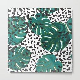 Shining Leopard Detailed Tropical Metal Print
