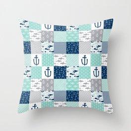 Nautical anchors sharks whales quilt cheater quilt nursery pattern art Throw Pillow