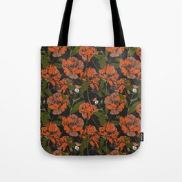 Autumnal flowering of poppies Tote Bag