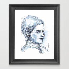 Portrait of a Girl, watercolor and ink Framed Art Print