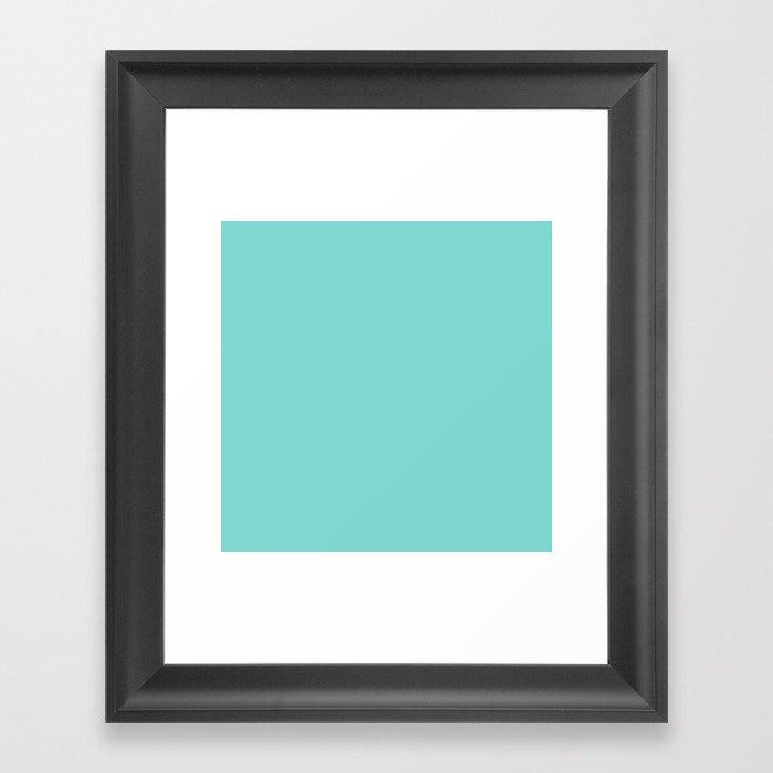Aqua Blue Simple Solid Color All Over Print Gerahmter Kunstdruck