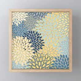 Floral Print, Yellow, Gray, Blue, Teal Framed Mini Art Print