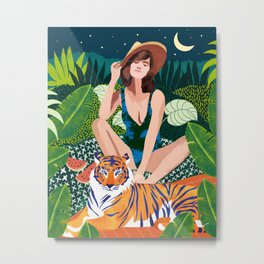Living In The Jungle With My Tiger Metal Print