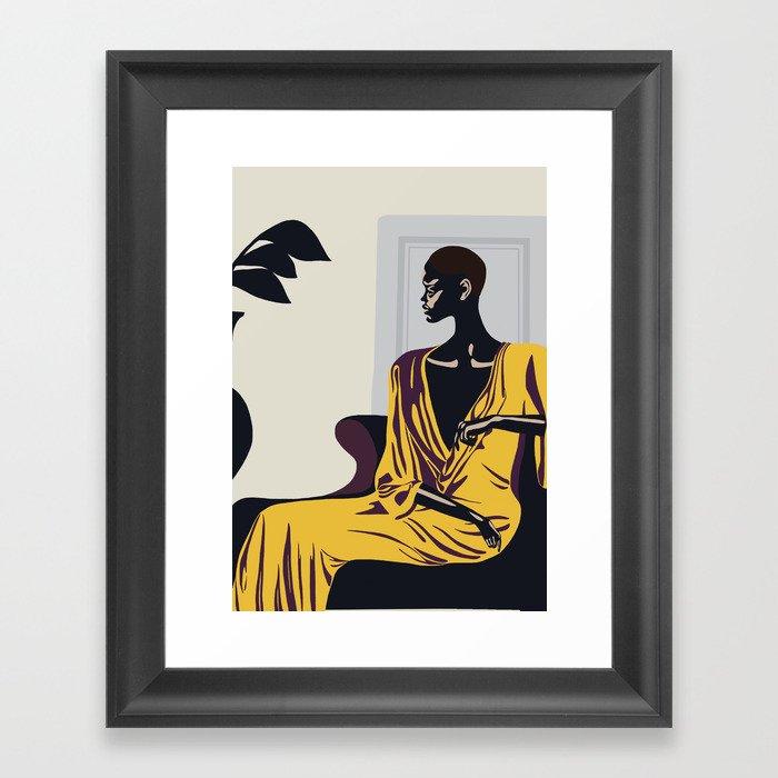 Yellow robe Framed Art Print