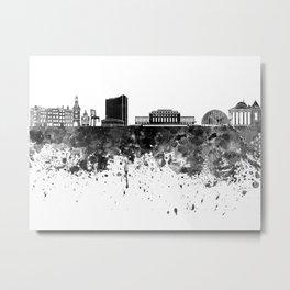 Geneva skyline in black watercolor Metal Print