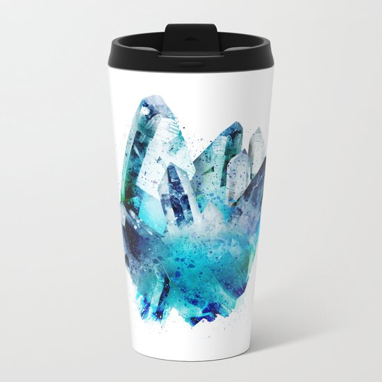 Watercolor Gemstone Metal Travel Mug