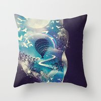 hello Throw Pillows featuring Dream Big by dan elijah g. fajardo