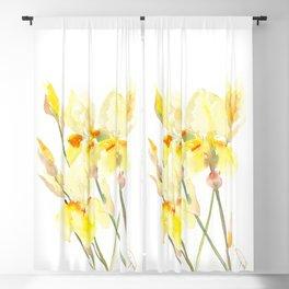 Yellow Irises, Soft yellow Floral Art Blackout Curtain
