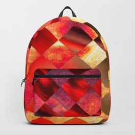 Pattern of diamonds in red and yellow nature colors Backpack