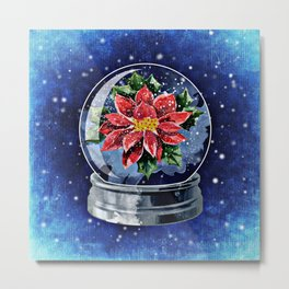 Poinsettia in a Snow Globe Metal Print
