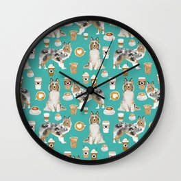 Shetland Sheepdog blue merle sheltie dog breed coffee pattern dogs portrait sheepdogs art Wall Clock