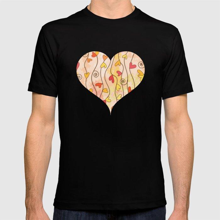 Heart and Spiral Botanic Pattern III - Fall Love T-shirt