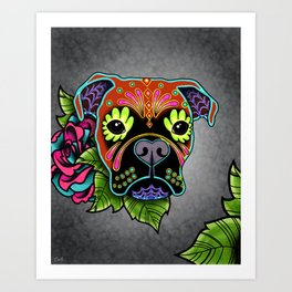 Boxer in Fawn - Day of the Dead Sugar Skull Dog Art Print