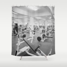 Black and White Weight Room Photograph Shower Curtain