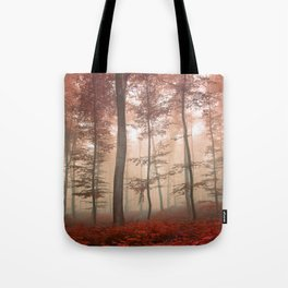 Misty Autumn Forest Tote Bag