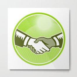 Handshake Black White Woodcut Circle Metal Print