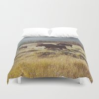 rocky Duvet Covers featuring Three Meadow Moose by Kevin Russ