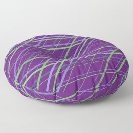 Classic Purple and Green Geometric Criss Cross Lines Floor Pillow