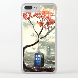 Tardis Art And The Tree Blossom Clear iPhone Case