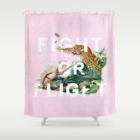 fight Shower Curtains featuring Fight or Flight by Heather Landis