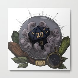 Virgo D20 - Tabletop Gaming Dice - The Astrology Collection Metal Print