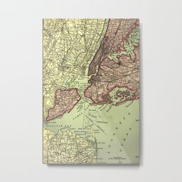 Vintage NYC and Surrounding Areas Map (1879) Metal Print