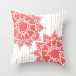 Pastel color coral pink floral mandala stripes Throw Pillow