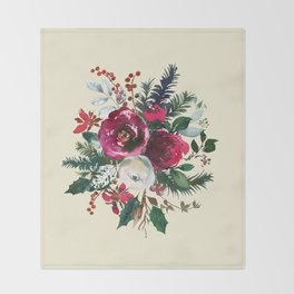Christmas Winter Floral Bouquet No Text Throw Blanket