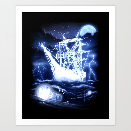 """High-Voltage Ghost Ship"" Art Print"