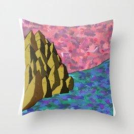 Space Rock of Fallen Blossoms Throw Pillow