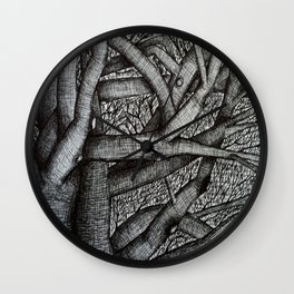 Trees Drawn in Ink Wall Clock