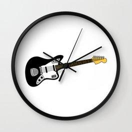 Vintage jazz guitar - black Wall Clock