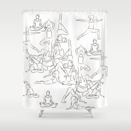 Yoga Asanas black on white Shower Curtain